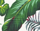 Enormous French Tropical Leaf and Fern pattern on glazed cotton