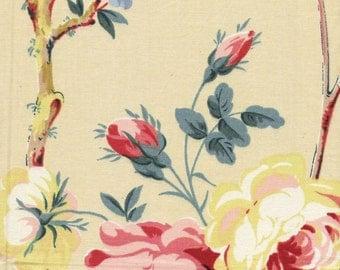 Vintage large scale Floral fabric sample on Glazed cotton