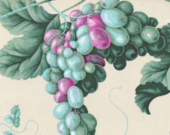 Vintage Green Grapes fabric sample on glazed cotton