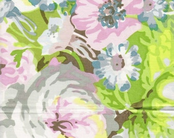 Large Scale Pastel Floral fabric sample on Glazed Cotton