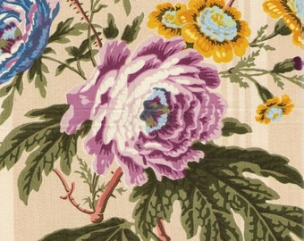 Clarence House Vintage Floral Peony Bouquet Fabric - Glazed Egyptian Cotton