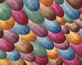 Vintage Rainbow Feathers fabric sample in soft silk