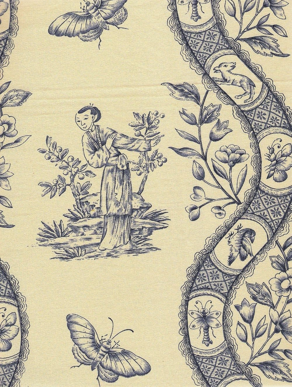 Vintage french toile chinoiserie fabric sample in blue on for French toile fabric