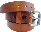 Men's Rustic leather belt Hot Dipped Harness roller buckle button snaps american made