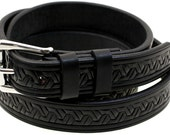 Made In America 30mm Black Bridle Leather Belt Embossed With Double Loops And Stainless Steel Buckle
