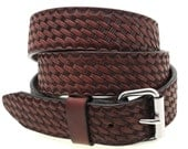 "Made In USA 1 1/2"" Rich Brown Bridle Leather Belt Basket Weave Embossing Stainless Steel Roller Buckle Dress Or Casual"