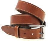 """Hand Crafted American Made 1 1/2"""" Q-Tan Bull Hide Bridle Leather Belt Saddle Groove Stainless Steel Roller Buckle"""
