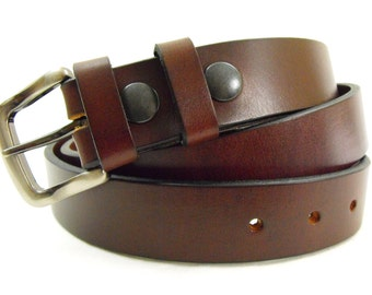 1 1/4 belt men women genuine brown leather made in USA 32mm top grain full grain