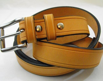 1 1/4 American made natural tan harness leather belt Stainless steel buckle Men women