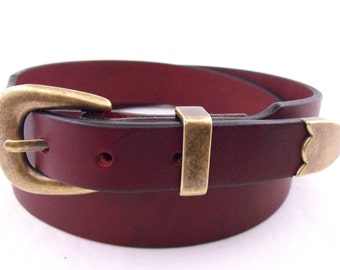 Oiled Latigo Burgundy American Hand Crafted Belt With A 3-piece Antique Brass Buckle Set