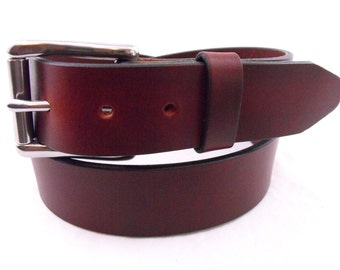 """1 1/2"""" Oil Tanned Latigo Chestnut Leather Belt Stainless Steel Roller Buckle Hand Crafted Made in USA"""