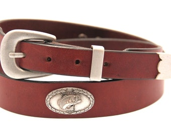 "1 3/8"" Chestnut Bridle Leather Belt Tapered With Large Mouth Bass Concho And 3 Piece Antique Silver Finish Buckle Set Hand Crafted In USA"