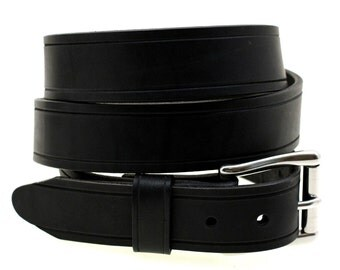 "Hand Crafted In USA 1 1/2"" Black Latigo Leather Belt Saddle Grooved Wide Loop Stainless Steel Buckle"