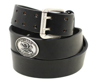 "Made In America 1 1/2"" Black Bridle Leather belt With 'Don't Tread On Me' Raised Design Conchos Double Holes And Wide Loop Dress Or Casual"