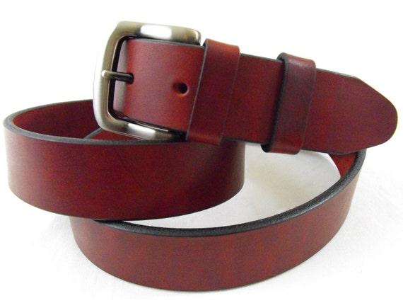 32mm Genuine leather burgundy latigo belt American made casual dress men women