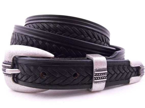 Made in USA Tapered Dress casual Leather Belt Black Casual Men Women Full Grain