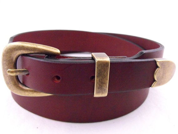 Oiled Latigo Burgundy American Hand Crafted Belt With A 3-piece Antique Brass Buckle Set