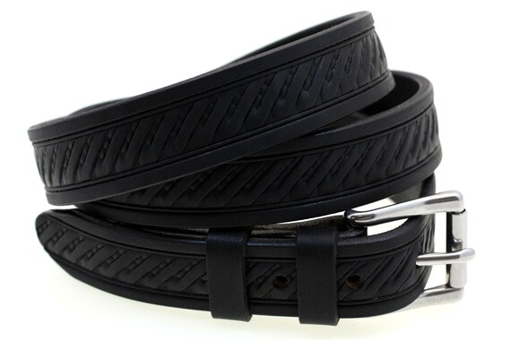 30mm Black Bridle Leather Belt With Embossing And Roller Buckle Great For Dress Or Casual Wear Hand Crafted Made In USA