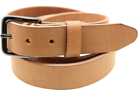 Made In America 35mm Tan Mill-Stuffed Harness Leather Belt With Natural Burnished Edges For Men Or Women