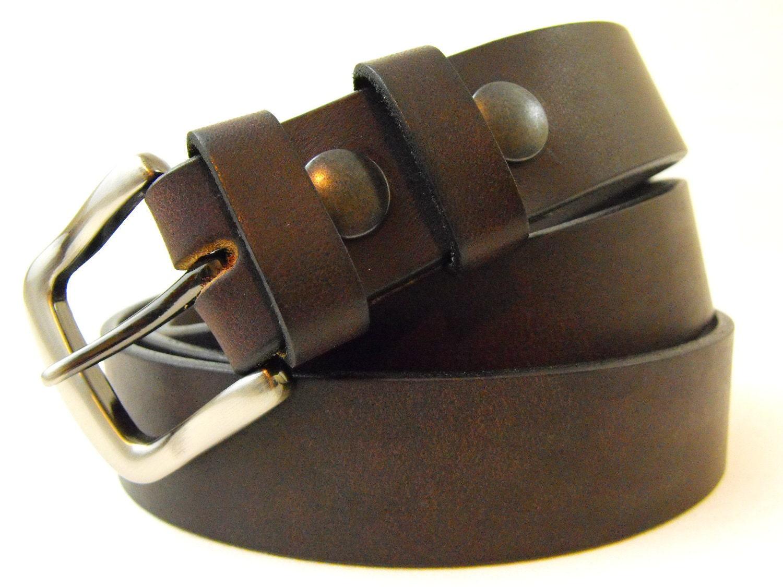 32mm genuine brown latigo leather belt american made