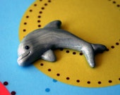 Shimmery Dolphin Polymer Clay Flatback Bow Center