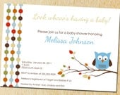 Owl baby shower invitation - Fall dots