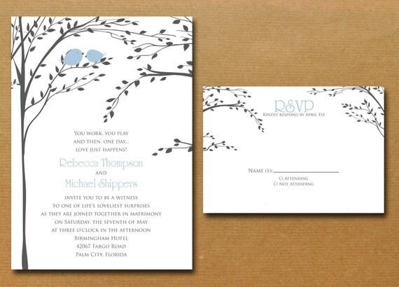 Love Birds Wedding Invitations: Love Birds In A Tree Wedding Invitation By Nmiphotocreations