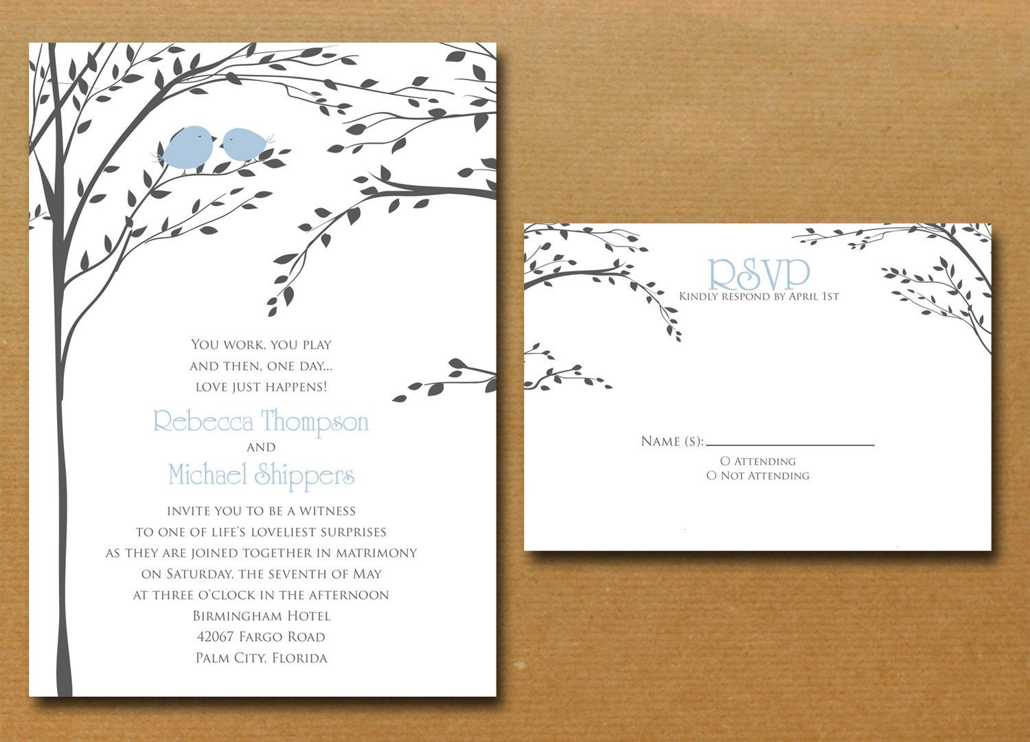 Bird Wedding Invitation: Love Birds In A Tree Wedding Invitation By Nmiphotocreations