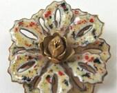 FREE SHIPPING Vintage Flower Brooch Gold Toned Enamel