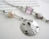 Bookmark - Sand Dollar Seaside - Pink, Silver, and Pearl Beaded Book Thong with Fun Fish Pewter Charm