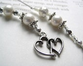 Pearl Bookmark BRIDAL PARTY GIFT or Wedding Favor - Beaded Book Thong in Sterling with Double Hearts Charm