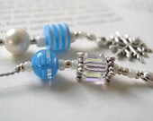 Winter Robins Egg Blue Book Thong - Beaded Bookmark with Snowflake and Pearl and Tibetan Silver Charms