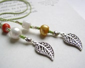 Autumn Bliss Beaded Bookmark - Book Thong in Orange, Green, Gold, and Pearl with Filigree Leaf Charms