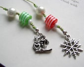 Snowflake and Ski Bookmark - Beaded Book Thong in Lime Green and Candy Cane Red with Pewter Charms