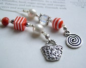 Perfect Handbag Beaded Bookmark - Creamsicle Orange and White Striped Book Thong with Pearl and Silver