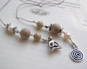 YOGA Lover's Bookmark Book Thong- Beaded Book Thong in Wood, Silver, and Pearl Beads