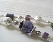FEBRUARY Beaded Bookmark inAmethyst Purple and Silver - Personalized Birthstone Book Thong with Your Choice of End Charms