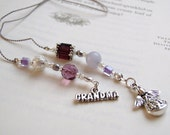 You're an ANGEL, Grandma - Beaded Book Thong Bookmark in Amethyst Purple with silver and pearl and Sterling charm