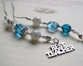 TEACHER GIFT Bookmark - Jeweled Beaded Book Thong in Blue Topaz Aquamarine Beads and Skeleton Key and Best Teacher Appreciation Charms