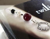Vampire Bookmark  - Jeweled Beaded Book Thong  in Blood Red, Black, and Silver with Vampire Fangs and Heart Charms for the Reading Lover