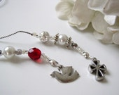 Confirmation Cross and Dove Bookmark - Beaded Book Thong in Ruby Red and Glass Pearl White with Cross and Dove Pewter Charms