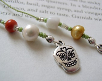 Sugar Skull Bookmark - Beaded Book Thong in Orange, Green, Gold, and White