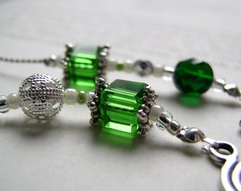 Beaded Bookmark for MAY Birthstone in Emerald Green and Silver - Personalized Book Thong with Your Choice of Charms