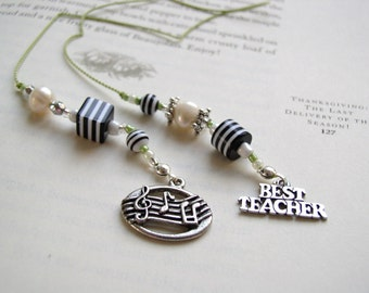 Music Teacher or Piano Teacher Gift - Music Lover's Bookmark - Beaded Book Thong with Notes and Best Teacher Charm in Black and White
