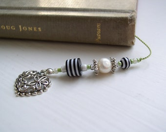Piano and Music Lover's Bookmark - Beaded Book Thong with Music Notes and Heart Charms in Black and White with Lime Green