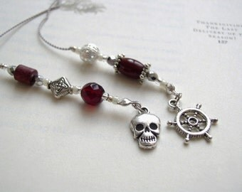PIRATE Skull Bookmark Jeweled Beaded Book Thong - Silver and Garnet Red with Personalized Charms