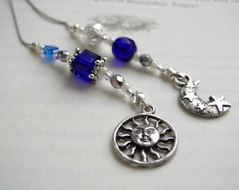 Celestial SUNBURST and Moon Book Thong in Sapphire Blue and Silver - Beaded Bookmark with Pewter Charms