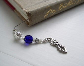 GODDESS Bookmark with Celestial Sunburst Beaded Book Thong in Sapphire Blue and Silver with Pewter Charms