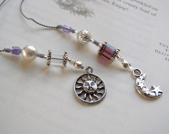 Beaded Bookmark Celestial SUNBURST and Moon Book Thong in Amethyst Purple and Silver with Pewter Charms