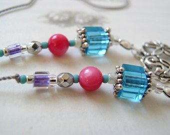 Dance Lover's Jeweled Bookmark - Beaded Book Thong in Rich Aqua Turquoise, Hot Pink, and Purple with Silver Heart and Dance Charms